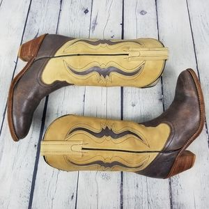 FRYE   vintage stacked heel reptile western boots